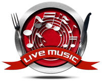 Live Music and Food - Metal Icon. Metal icon or symbol with white musical notes, red ribbon with text live music and silver cutlery. Isolated on white background Royalty Free Stock Photo