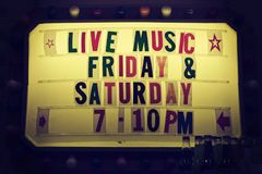 Live Music Friday & Saturday 7-10 Pm Signage Stock Image