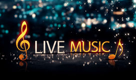 Live Music Gold Silver City Bokeh Star Shine Blue Background 3D. Digital art Royalty Free Stock Photos