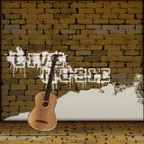 Live Music grafitti på en gitarr för tegelstenvägg Royaltyfria Bilder