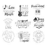 Live Music Hand Drawn Banner uppsättning Arkivbild
