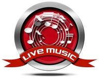 Live Music - icône en métal Photographie stock libre de droits