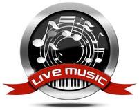 Live Music - icona del metallo Fotografie Stock Libere da Diritti