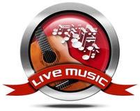 Live Music - icona del metallo Fotografia Stock Libera da Diritti