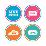 Live music icons. Karaoke or On air stream. Stock Photos