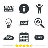 Live music icons. Karaoke or On air stream. Stock Photography