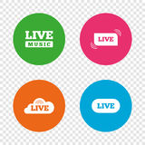 Live music icons. Karaoke or On air stream. Royalty Free Stock Images