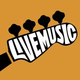 Live Music lettering. In the shape of bass guitar headstock Stock Images