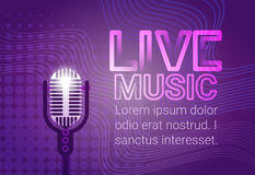 Live Music Microphone Banner Colorful Pop Art Style Modern Musical Concert Poster. Flat Vector Illustration Stock Image