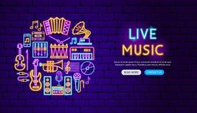 Live Music Neon Banner Design stock de ilustración