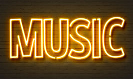 Live music neon sign. On brick wall background Stock Photo