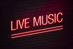 Live music neon sign for club Stock Photo