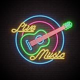 Live music neon sign with guitar and letter on brick wall background. Design template for decoration, cover, flyer or. Promotional party poster Royalty Free Stock Photography