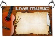 Live Music och matmeny Royaltyfri Bild