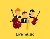 Live music. With orchestra trio with contrabass, violin and trumpet Stock Image