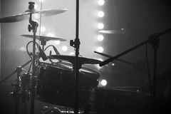Live music photo, drum set with cymbals. And stage lights on a background, black and white stock photos