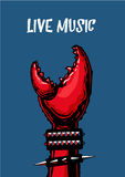 Live music poster with crab claw. Heavy metal. Tattoo style. Rock music fan hand. Poster with crab claw. Heavy metal. Tattoo style Stock Image