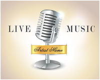 Live music poster with microphone - vector eps10 Royalty Free Stock Image