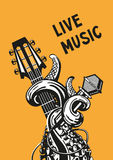 Live music poster. Live music. Rock poster with a guitar, microphone and tentacles stock illustration