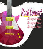 Live music  poster template. Rock concert with guitar, Royalty Free Stock Images