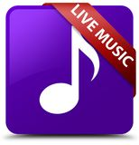 Live music purple square button red ribbon in corner. Live music isolated on purple square button with red ribbon in corner abstract illustration Royalty Free Stock Photography