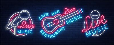 Live music set of neon signs vector logos, poster, emblem for live music festivals, music bars, karaoke, night clubs. Collection of templates for flyers Royalty Free Stock Image
