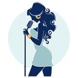 Live Music Show, silueta hermosa del cantante stock de ilustración