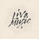 Live Music Sign emblem, logo, affisch, reklamblad royaltyfri illustrationer
