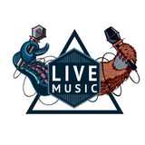Live music sign. Live music event sign with two microphones. Isolated color emblem stock illustration
