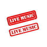 LIVE MUSIC stamp sign text red. Stock Photos