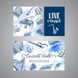 Live Music Tickets Music Instruments, diseño de la bandera Dé el tambor, el piaono, el violín, la guitarra y el saxofón exhaustos stock de ilustración