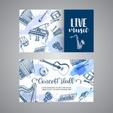 Live Music Tickets Music Instruments, banner design. Hand drawn drum, piaono, violin, guitar and saxophone on paint. Splashes. Vector illustration stock illustration