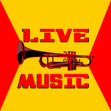 Live music trumpet yellow and red Stock Images