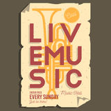 Live Music Typographic Promotion Information-Affichelay-out Stock Foto