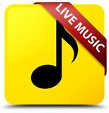 Live music yellow square button red ribbon in corner. Live music isolated on yellow square button with red ribbon in corner abstract illustration Stock Images