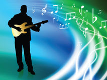 Live Musician on Abstract Liquid Wave Background Royalty Free Stock Photos