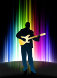 Live Musician on Abstract Spectrum Background Stock Photo
