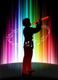 Live Musician auf abstraktem Spektrum-Hintergrund Stockfoto
