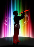 Live Musician på abstrakt spektrumbakgrund Arkivfoto