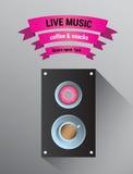 Live-Musik-Anzeige mit Sprecher Stockbild