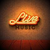 Live-Musik-Leuchtreklame mit Buchstaben des Schildes 3d auf Backsteinmauerhintergrund Entwerfen Sie Schablone für Dekoration, Abd lizenzfreie abbildung
