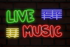 Live-Musik-Neonlichter Stockbild
