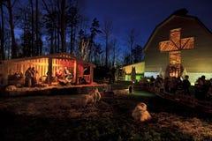 Live Nativity jul på Billy Graham Library Arkivbild
