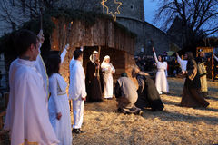 Live Nativity Scene à Zagreb Image stock