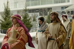 Live nativity scene at business hub, Milan, #09 Royalty Free Stock Photos