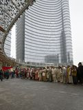 Live nativity scene at business hub, Milan, #11 Stock Image