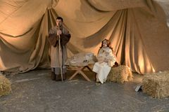 Live nativity scene at business hub, Milan, #13 Royalty Free Stock Image