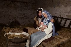 Live nativity scene in the manger royalty free stock photos
