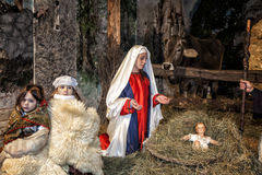 Live nativity scene played by local inhabitants. Reenactment of Jesus life  with ancient crafts and customs of the past Royalty Free Stock Image