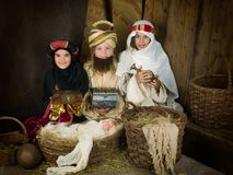 Live nativity scene with wisemen Royalty Free Stock Image